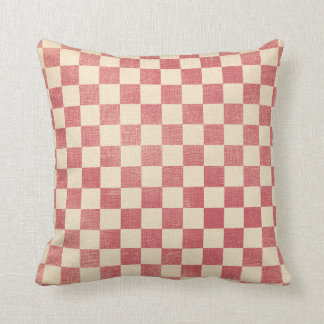 Red and White Checkerboard Country Prim Distressed Throw Pillow