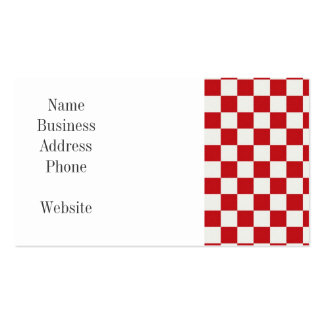 Red and White Checkered Pattern Country BBQ Colors Business Card Template