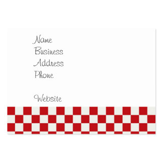 Red and White Checkered Pattern Country BBQ Colors Large Business Card