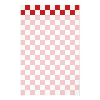 Red and White Checkered Pattern Country BBQ Colors Custom Stationery