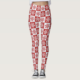 Red and White Checkered Snowflakes Christmas Leggings