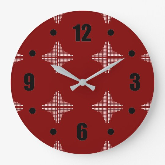 Red And White Chequered Pattern Large Clock