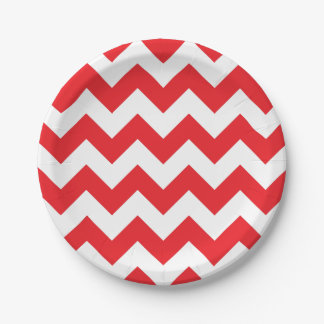 Red and White Chevron Paper Plate