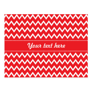Red and White Chevron Pattern Postcard
