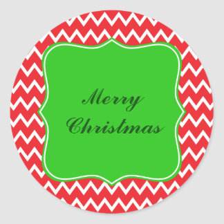 Red and White Chevron Pattern with Green Christmas Classic Round Sticker