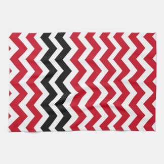 Red and White Chevrons With Black Kitchen Towel