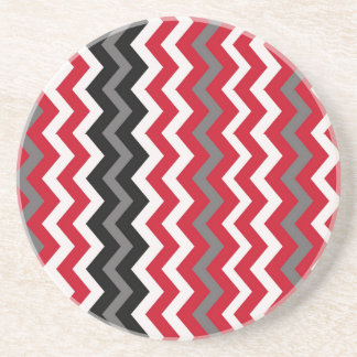 Red and White Chevrons With Gray Coaster