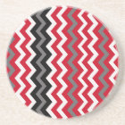 Red and White Chevrons With Grey Coaster