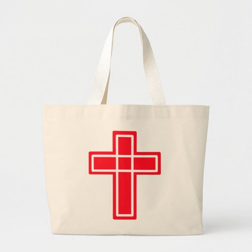 Red and white Christian cross cute tote Canvas Bags