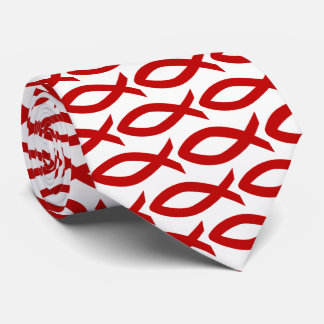 Red and White Christian Fish Symbol  Necktie
