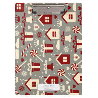 Red and White Christmas Candies and Gifts Pattern Clipboards