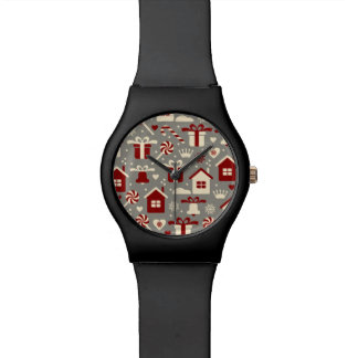 Red and White Christmas Candies and Gifts Pattern Wristwatches