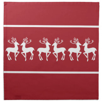 Red and White Christmas Deer Cloth Napkin