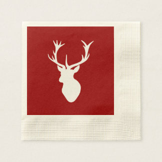 Red and White Christmas Deer Stag Head Paper Napkin