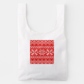 Red and White Christmas Knitted Pattern