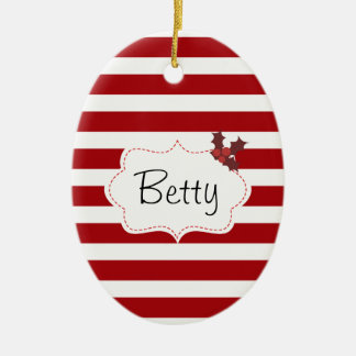 Red and White Christmas Magic Ceramic Ornament