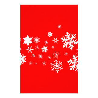 Red And White Christmas Snowflake Banner Stationery Design