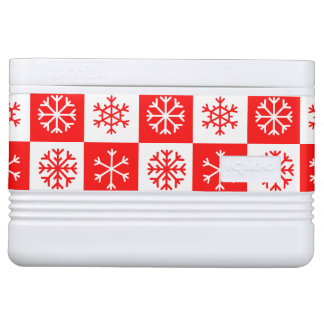 Red and White Christmas Snowflake Checkerboard