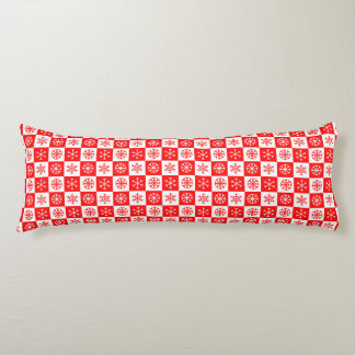 Red and White Christmas Snowflake Checkerboard Body Pillow