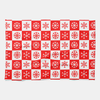 Red and White Christmas Snowflake Checkerboard Kitchen Towel