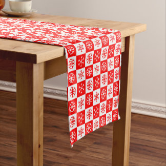 Red and White Christmas Snowflake Checkerboard Short Table Runner