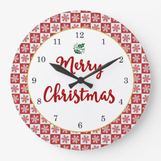 Red and White Christmas Snowflake Pattern Large Clock