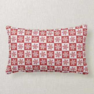Red and White Christmas Snowflake Pattern Lumbar Pillow