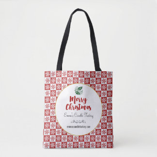 Red and White Christmas Snowflake Pattern Tote Bag