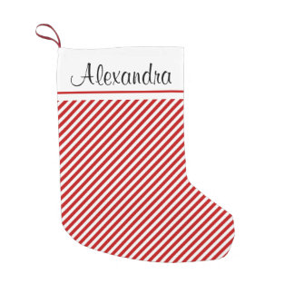 Red and White Christmas Stripe Pattern Monogram Small Christmas Stocking