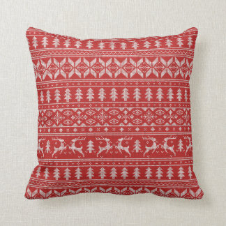 Red and White Christmas Sweater Throw Pillow