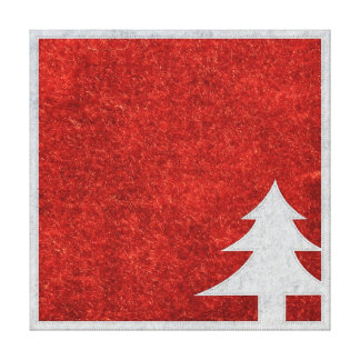 Red and White Christmas Tree Faux Leather Texture Canvas Print