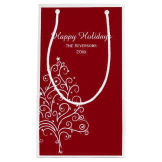 Red and White Christmas Tree Happy Holidays Small Gift Bag