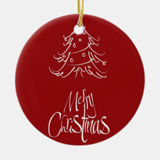 Red and White Christmas Tree Merry Christmas Ceramic Ornament