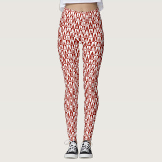 Red And White Christmas Tree Pattern Leggings