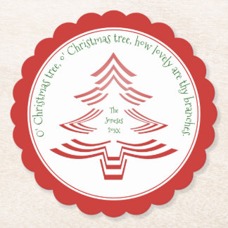 Red and White Christmas Tree Picture Font Pattern Paper Coaster