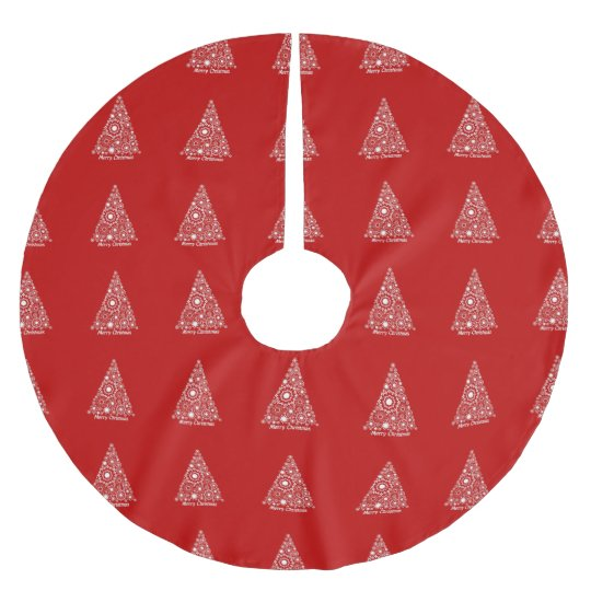 Red And White Christms Tree Merry Christmas Brushed Polyester Tree Skirt
