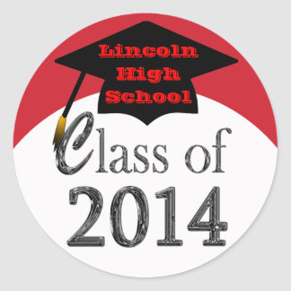 Red And White Class Of 2014 Graduation Stickers
