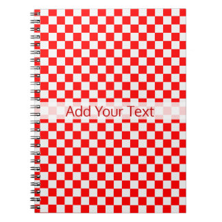 Red And White Classic Checkerboard by STaylor Notebook