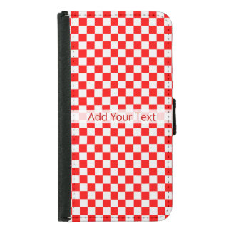 Red And White Classic Checkerboard by STaylor Samsung Galaxy S5 Wallet Case