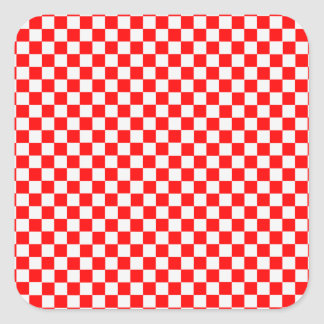 Red And White Classic Checkerboard by STaylor Square Sticker