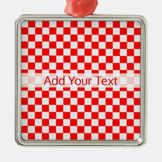 Red and White Classic Chequerboard by STaylor Metal Ornament