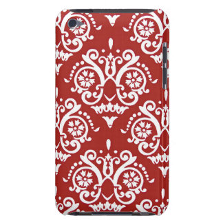Red and White Classic Damask iPod Case-Mate Case