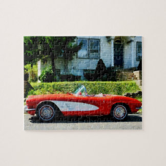 Red and White Corvette Convertible Jigsaw Puzzle