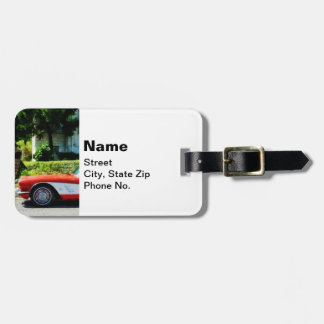 Red and White Corvette Convertible Luggage Tag