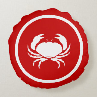 Red  and white CRAB and lobster Round Pillow