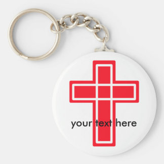 Red and white cross keychain