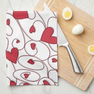 Red and white curly hearts kitchen towels