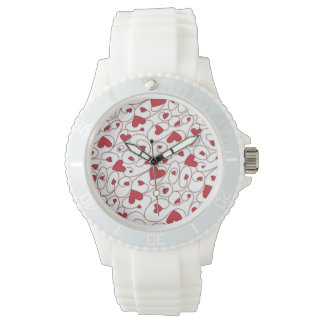 Red and white curly hearts wrist watches