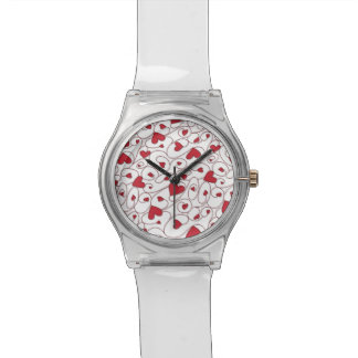 Red and white curly hearts wristwatch