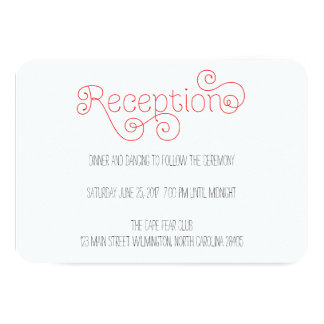 "Red and White Curly Script Wedding Reception Card 3.5"" X 5"" Invitation Card"